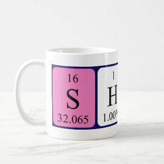 Taza del nombre de la tabla periódica de Sharna