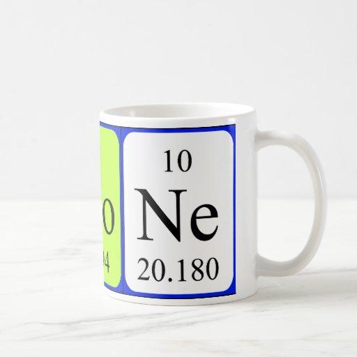 Taza del nombre de la tabla periódica de Simone