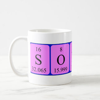 Taza del nombre de la tabla periódica de Sonny