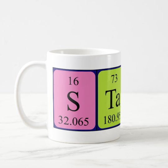 Taza del nombre de la tabla periódica de Stacey