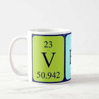 Taza del nombre de la tabla periódica de Vesta