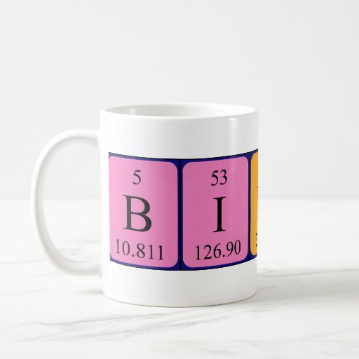 Taza del nombre de la tabla periódica del Biddy