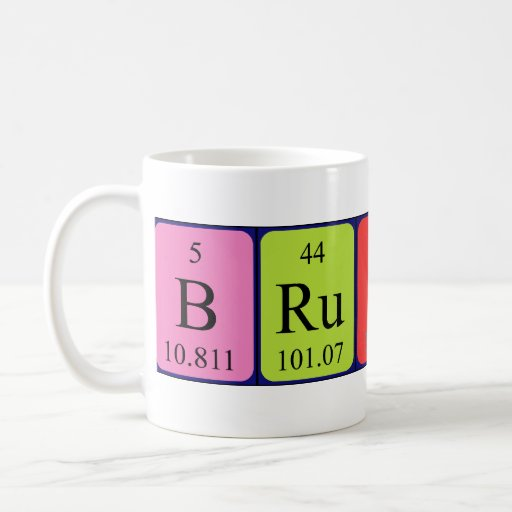Taza del nombre de la tabla periódica del Brutus