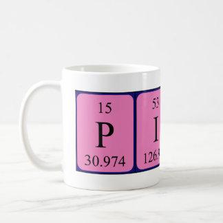 Taza del nombre de la tabla periódica del gaitero