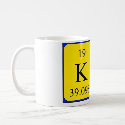 Taza del nombre de la tabla periódica del Kat
