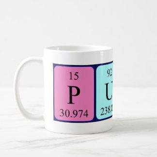 Taza del nombre de la tabla periódica del Puss