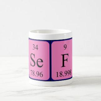 Taza del nombre de la tabla periódica del Sef