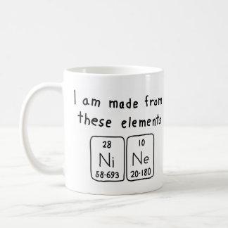 Taza del nombre de la tabla periódica nueve