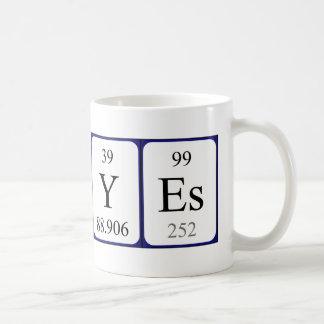 Taza del nombre de la tabla sí periódica