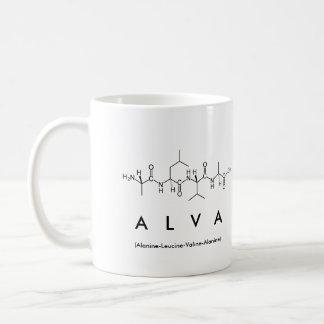 Taza del nombre del péptido de Alva