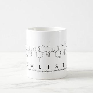 Taza del nombre del péptido de Calista