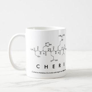 Taza del nombre del péptido de Cheri