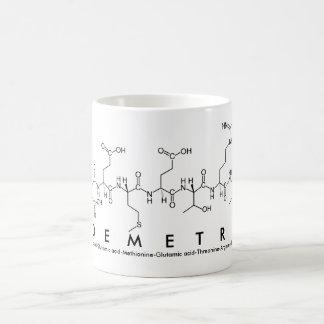 Taza del nombre del péptido de Demetri