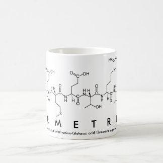 Taza del nombre del péptido de Demetria