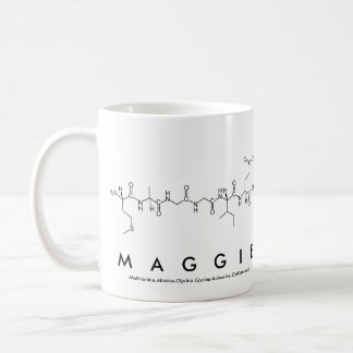 Taza del nombre del péptido de Maggie