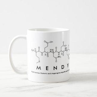 Taza del nombre del péptido de Mendy