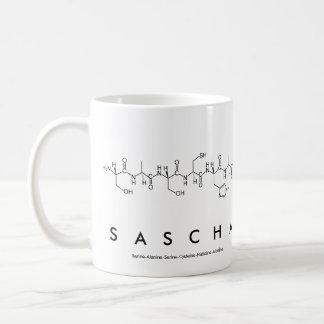 Taza del nombre del péptido de Sascha