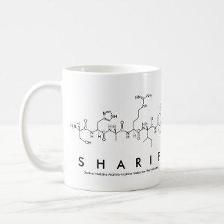 Taza del nombre del péptido de Sharif Taza Básica Blanca
