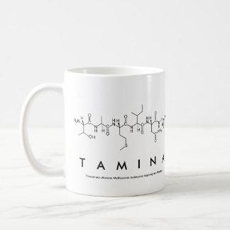 Taza del nombre del péptido de Tamina