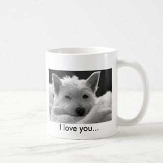 Taza del oeste linda del perro de Terrier de la mo