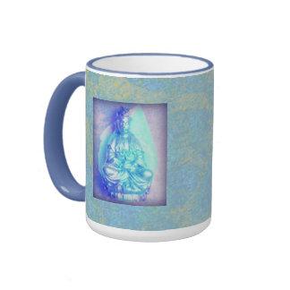 Taza del ópalo azul de Kwan Yin