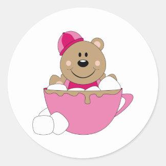 Taza del oso de la nieve de la niña de Cutelyn Pegatina Redonda