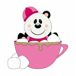 Taza del oso de panda de la nieve de la niña de Cu Esculturas Fotograficas