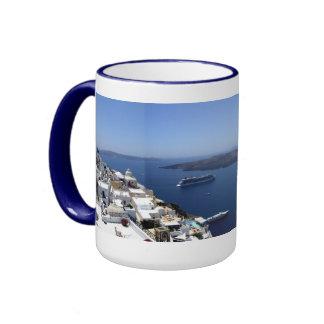 Taza del panorama de Santorini