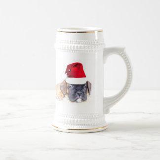 Taza del perrito del boxeador del navidad