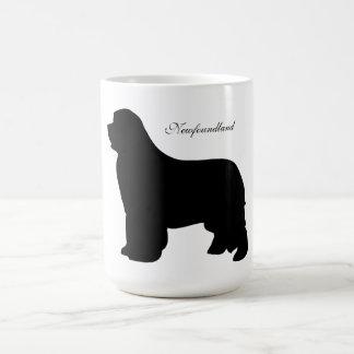Taza del perro de Terranova, silueta negra, regalo