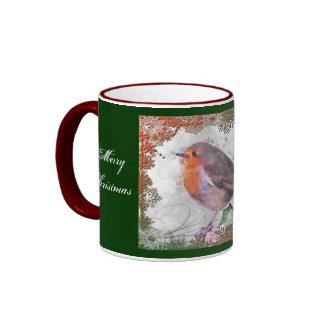 Taza del petirrojo de la alegría del navidad