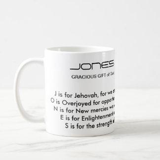Taza del poema del apellido de Jones
