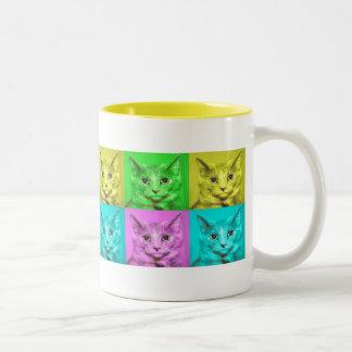 taza del poster del gato del Warhol-estilo