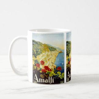 "Taza del poster del viaje del vintage de ""Amalfi"""