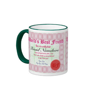 Taza del premio del certificado del mejor amigo de