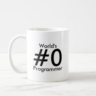 Taza del programador del #0 del mundo taza básica blanca