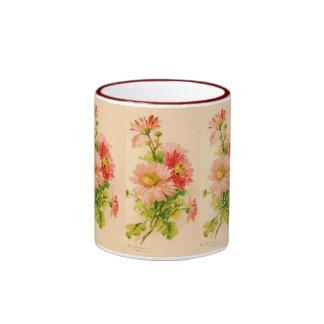 Taza del ramo de la primavera del vintage