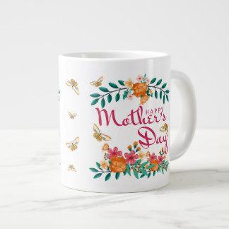 Taza del regalo del día de madre floral y mariposa
