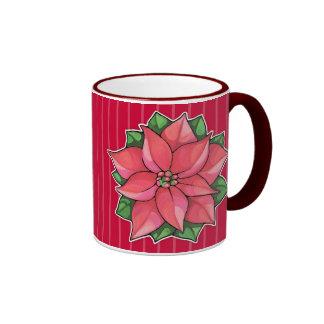 Taza del rojo de la alegría del Poinsettia
