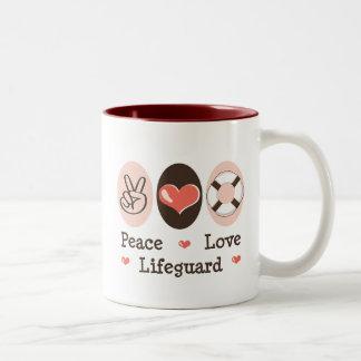 Taza del salvavidas del amor de la paz