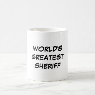 """""""Taza del sheriff más grande del mundo"""" Taza Básica Blanca"""