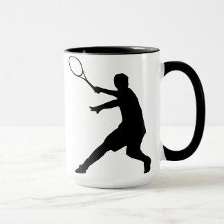 Taza del tenis con la silueta de un jugador