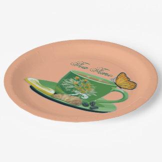 Taza del tiempo del té y placas de papel del plato de papel de 9 pulgadas