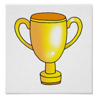 taza del trofeo del campeón del oro póster