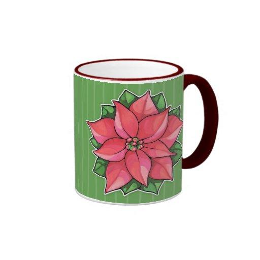 Taza del verde de la alegría del Poinsettia