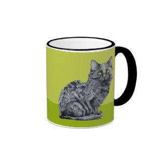 Taza del verde del gato negro