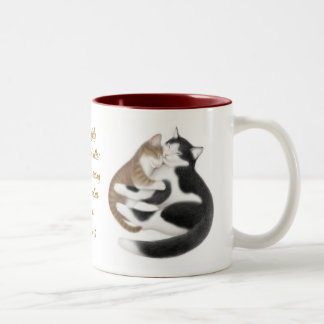 Taza del verso de la biblia de los gatos del amor