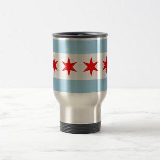Taza del viaje con la bandera de Chicago - los E.E