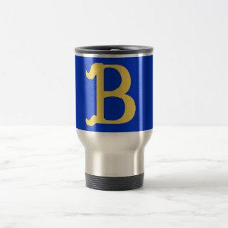 Taza del viaje con monograma con la letra B