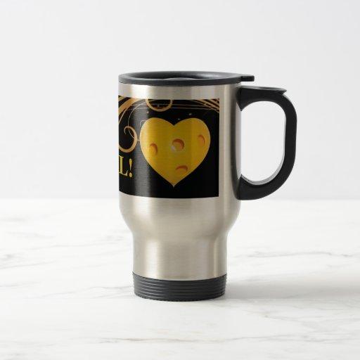 Taza del viaje de Pickleball con el corazón amaril